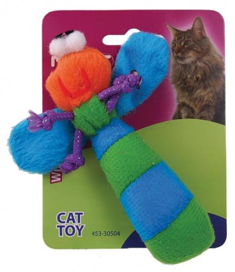 Игрушка для кошек Плюшевая стрекоза с кошачьей мятой title=