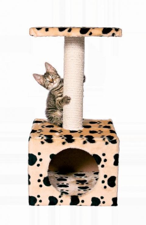 """Mājiņa kaķiem - """"Zamora"""" 61cm (bēša krāsa with paws) title="""