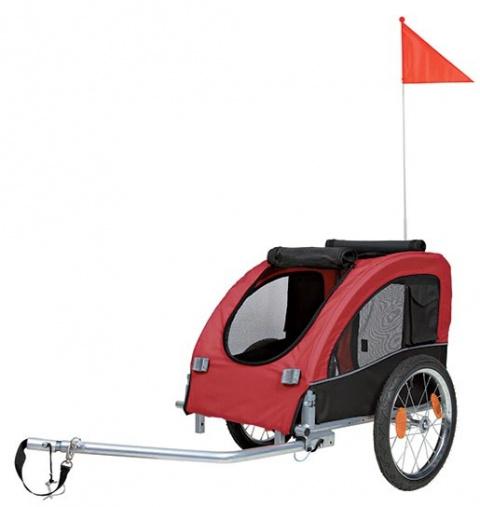 Velosipēda piekabe - TRIXIE Bicycle trailer, M: 63*68*75 (137) cm, krāsa - melna/sarkana title=