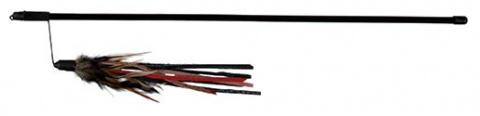 Игрушка для кошек - Игровая Штанга с кожаными полосками и перьями, 50 cm title=