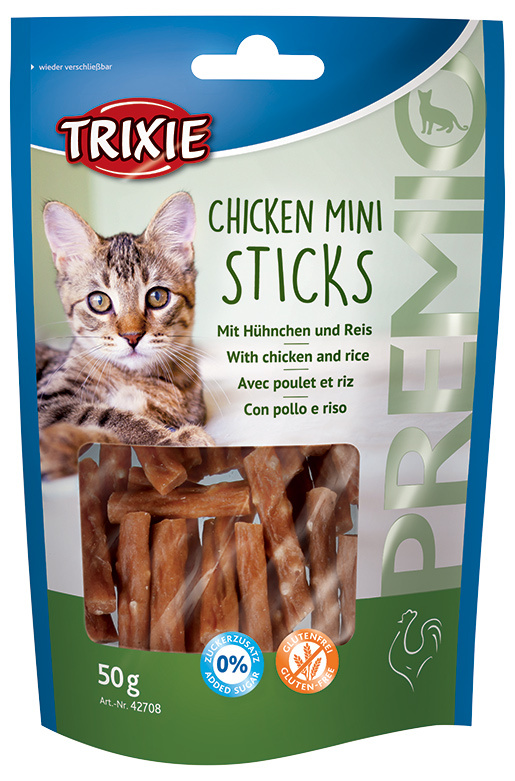 Лакомство для кошек - TRIXIE Premio Mini Sticks Chicken and Rice, 50 g