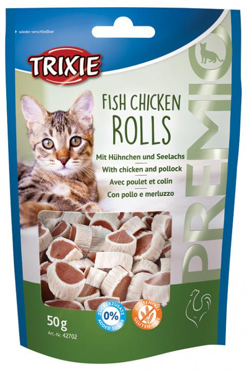 Gardums kaķiem - PREMIO Rolls, chicken/pollock, 50g