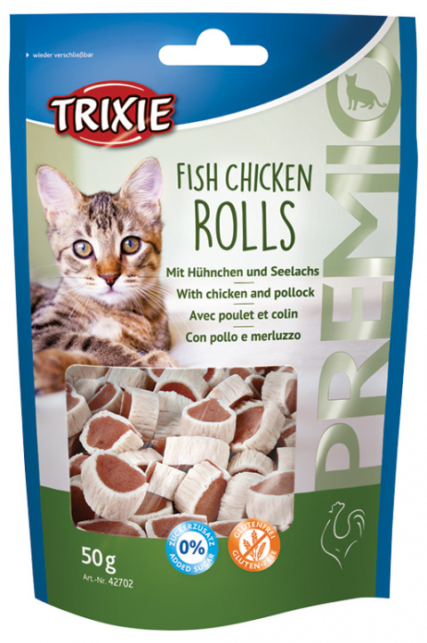 Лакомство для кошек - TRIXIE PREMIO Rolls, Chicken and Pollock, 50 g title=