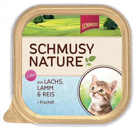 Konservi kaķēniem - Schmusy Nature junior ar lasi, jēru un rīsiem, 100g