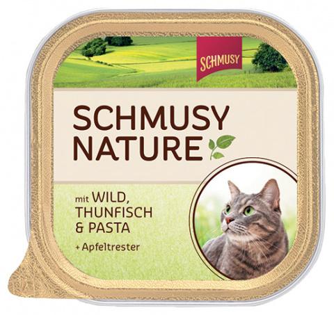 Konservi kaķiem - Schmusy Nature`Menu Pate ar medījumu, tunci un makaroniem, 100 g title=
