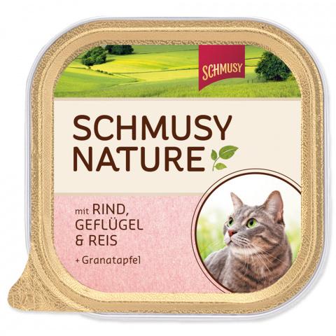 Konservi kaķiem - Schmusy Nature ar liellopu, vistu un rīsiem, 100 gr