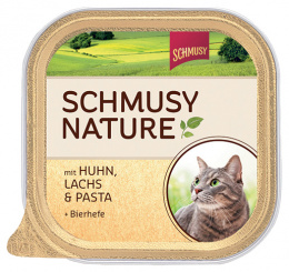 Консервы для кошек - Schmusy Nature с курицей, лососем и макаронами, 100g