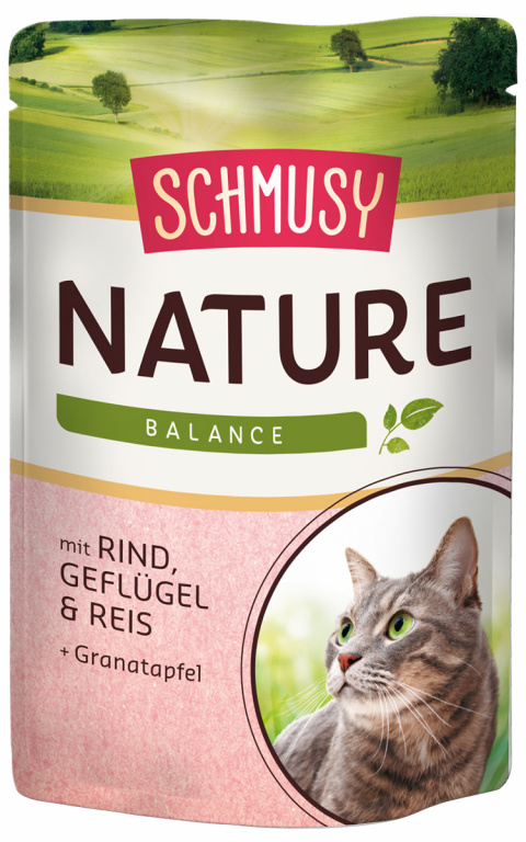 Konservi kaķiem - Schmusy Nature`Menu Beef, Chicken and Rice, 100 g title=