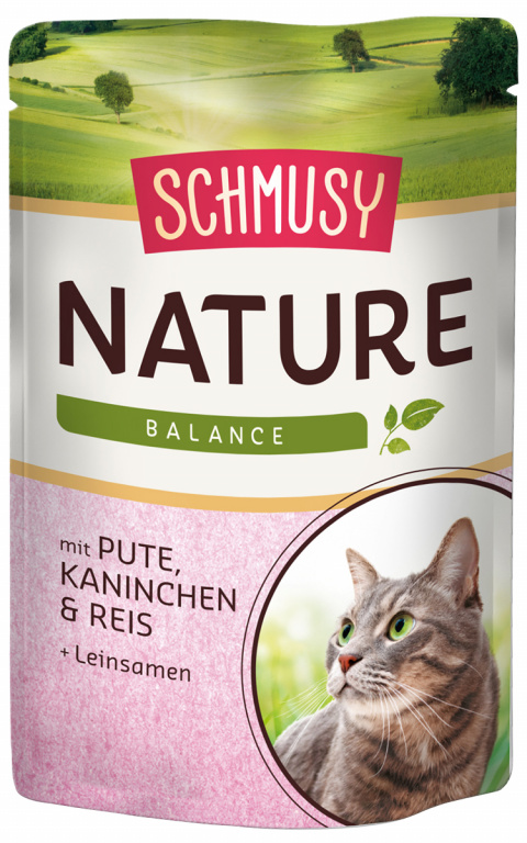 Konservi kaķiem - Schmusy Nature`Menu Turkey, Rabbit and Rice, 100 g title=