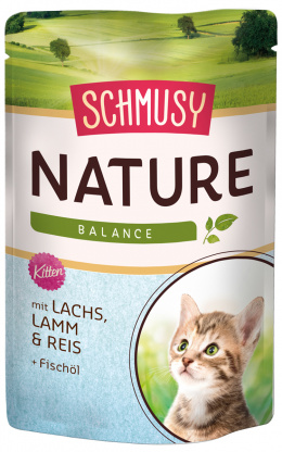 Konservi kaķēniem - Schmusy Nature`Menu Junior Salmon, Lamb and Rice, 100 g