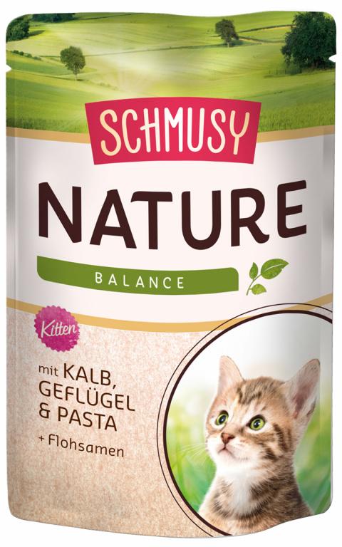 Konservi kaķēniem - Schmusy Nature`Menu Junior Calf, Chicken and Pasta, 100 g