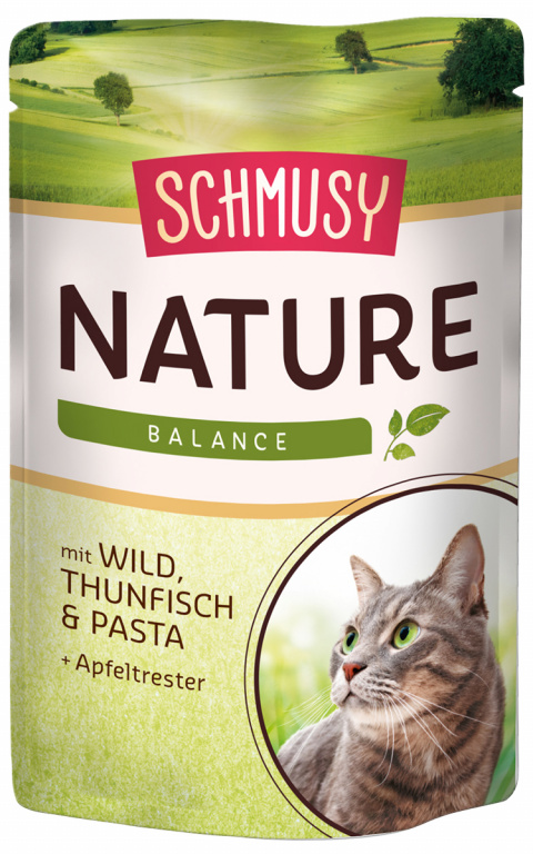 Konservi kaķiem - Schmusy Nature`Menu Wild, Tuna and Pasta, 100 g title=