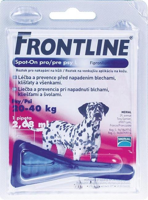 Pretblusu un pretērču pilieni suņiem - Frontline Dog Large 1 pip., bezrecepšu vet.zāles - bezrecepšu vet.zāles reģ. NR: VA - 072463/3