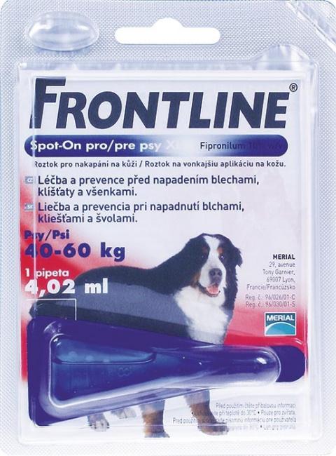 Pretblusu un pretērču pilieni suņiem - Frontline Dog Xtra Large, 1 pip., bezrecepšu vet. zāles, reģ. NR: VA - 072463/3 title=