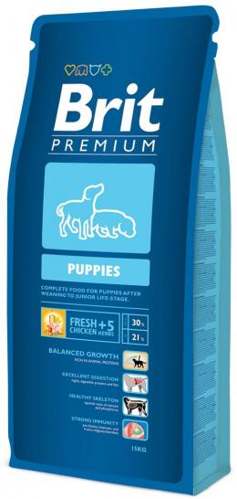 Корм для щенков -  BRIT Premium Puppies, 15 кг