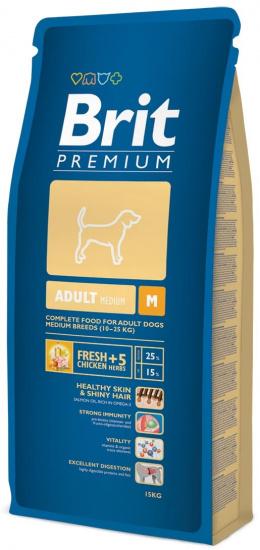 Корм для собак - BRIT Premium Adult M, 15кг