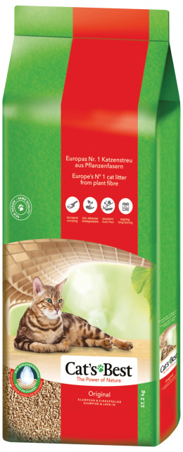 Древесный наполнитель для кошачьего туалета - Cat's Best Oko Plus, 17,2 кг