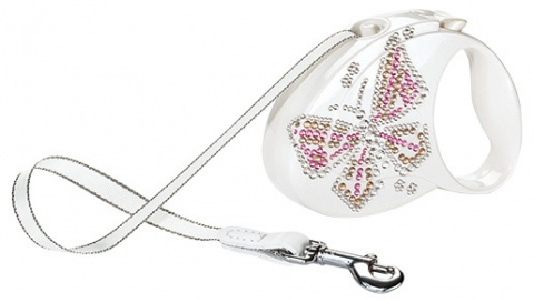 Inerces pavada suņiem - Flexi Glam Butterfly M 5 metri, Tape, krāsa - perlamutra balta title=