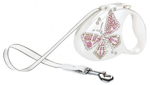 Инерционный поводок для собак - Flexi Glam Butterfly M 5 метров, цвет - белый перламут  title=