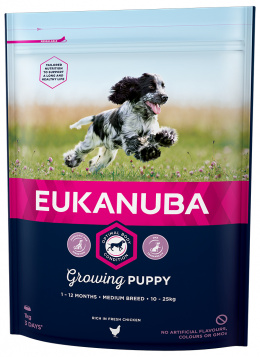 Корм для собак - Eukanuba Puppy & Junior Medium, 1кг