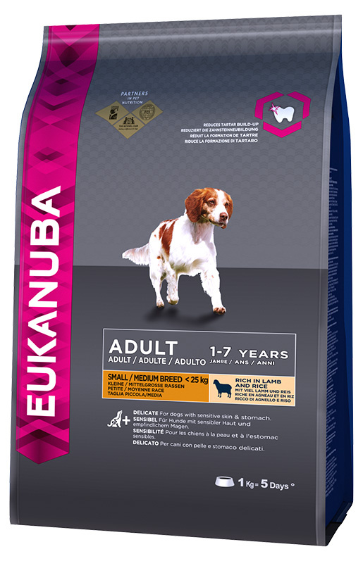 Barība suņiem - Eukanuba Adult Small & Medium Breed Lamb, 1kg