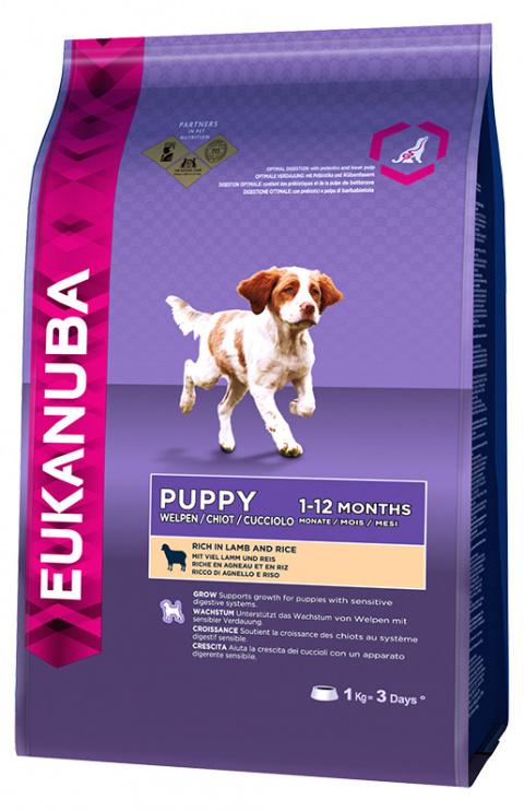 Barība kucēniem - Eukanuba Puppy & Junior Lamb & Rice, 1kg title=