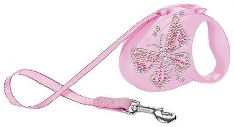 Inerces pavada - Flexi Glam Butterfly, krāsa - rozā
