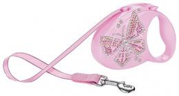 Inerces pavada - Flexi Glam Butterfly S 3 metri, krāsa - rozā
