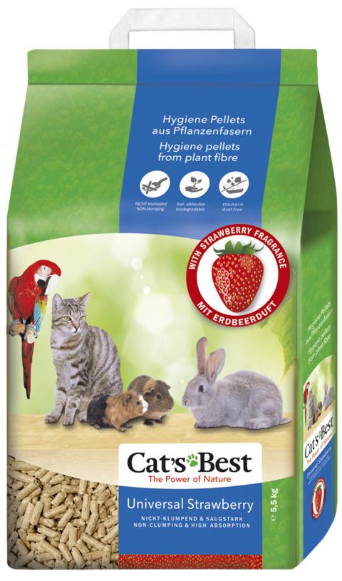 Древесный наполнитель  - Cats Best Universal Strawberry, 10 л (5,5 кг) title=