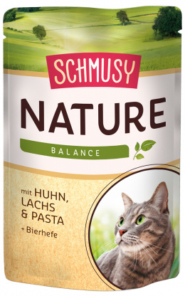 Консервы для кошек - Schmusy Nature`Menu с курицей, лососем и макаронами, 100 гр