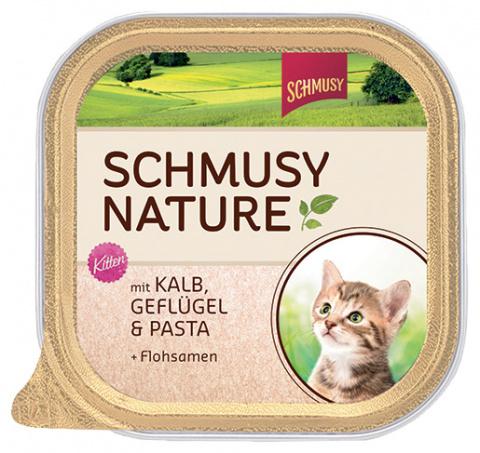 Konservi kaķēniem - Schmusy Nature Menu Pate Junior ar teļu, vistu un makaroniem, 100 g title=