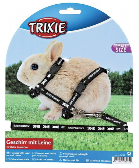 Aksesuārs grauzējiem - Harness with lead for small rabbits, neilona, 20 - 33cm / 8 mm, 1.25 m title=