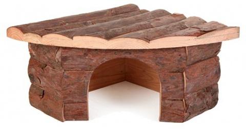 Аксессуар для клетки грызунов - Угловой домик, деревянный, 32*13*21/21 cm title=