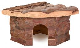 Аксессуар для клетки грызунов - Угловой домик, деревянный, 22*10*15/15 cm