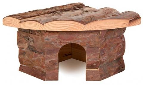 Аксессуар для клетки грызунов - Угловой домик, деревянный, 22*10*15/15cm
