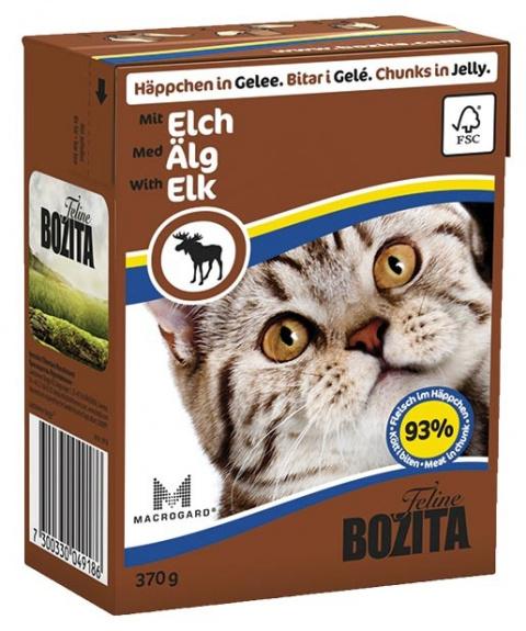 Консервы для кошек - BOZITA Chunks in Jelly with Elk, Tetra Pack, 370g