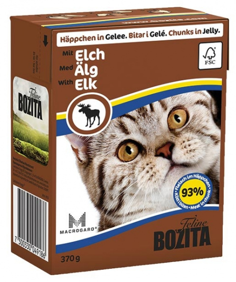 Консервы для кошек - BOZITA Chunks in Jelly with Elk, Tetra Pack, 370g title=