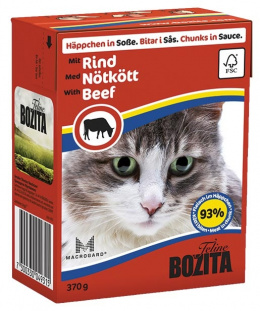 Konservi kaķiem - BOZITA Chunks in Sauce with Beef, Tetra Pack, 370g