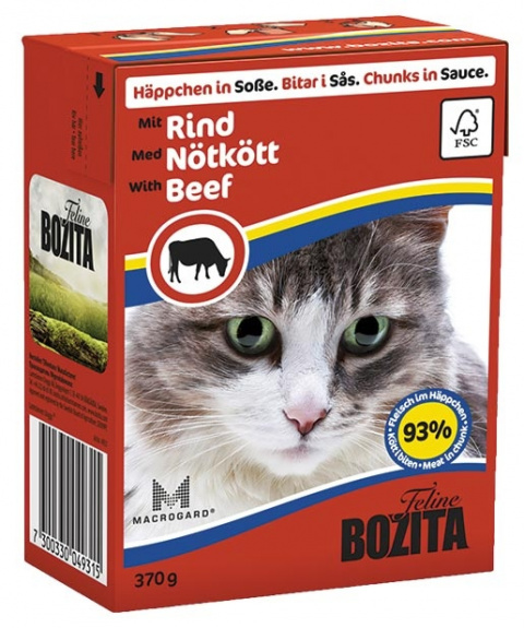 Консервы для кошек - BOZITA Chunks in Sauce with Beef, Tetra Pack, 370g title=