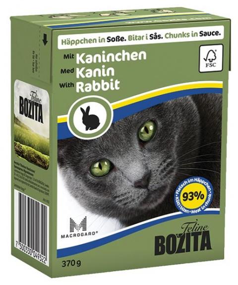 Konservi kaķiem - BOZITA Chunks in Sauce with Rabbit, Tetra Pack, 370g