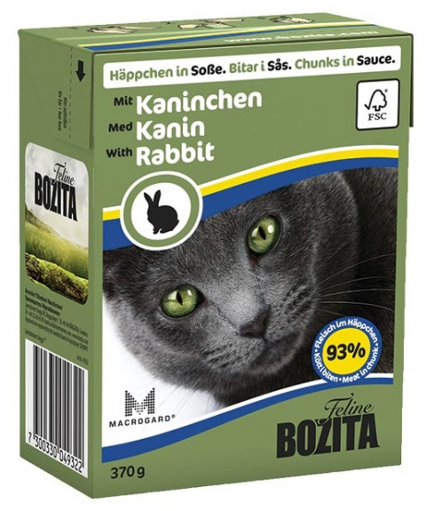 Консервы для кошек - BOZITA Chunks in Sauce with Rabbit, Tetra Pack, 370g title=