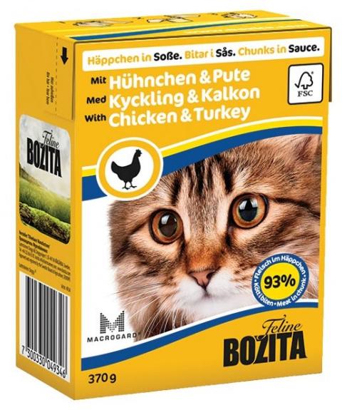 Konservi kaķiem - BOZITA Chunks in Sauce with Chicken & Turkey, Tetra Pack, 370g