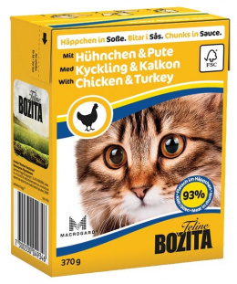 Konservi kaķiem - BOZITA Chunks in Sauce with Chicken & Turkey, Tetra Pack, 370g