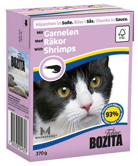 Консервы для кошек - BOZITA Chunks in Sauce with Shrimps, Tetra Pack, 370g
