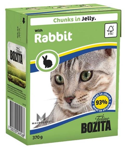 Konservi kaķiem - BOZITA Chunks in Jelly with Rabbit, Tetra Pack, 370g