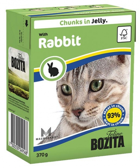 Konservi kaķiem - BOZITA Chunks in Jelly with Rabbit, Tetra Pack, 370g