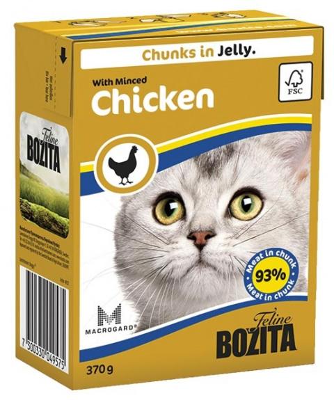 Konservi kaķiem - BOZITA Chunks in Jelly with Minced Chicken, Tetra Pack, 370g