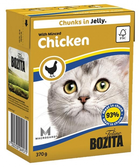 Konservi kaķiem - BOZITA Chunks in Jelly with Minced Chicken, Tetra Pack, 370g title=