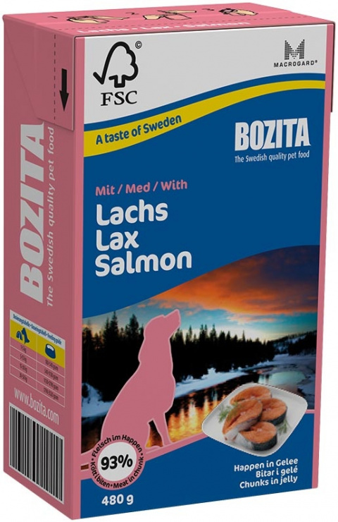 Konservi suņiem - BOZITA Chunks in Jelly with Salmon, Tetra Pack, 480g