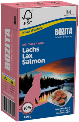 Konservi suņiem - BOZITA Chunks in Jelly with Salmon, Tetra Pack, 480g